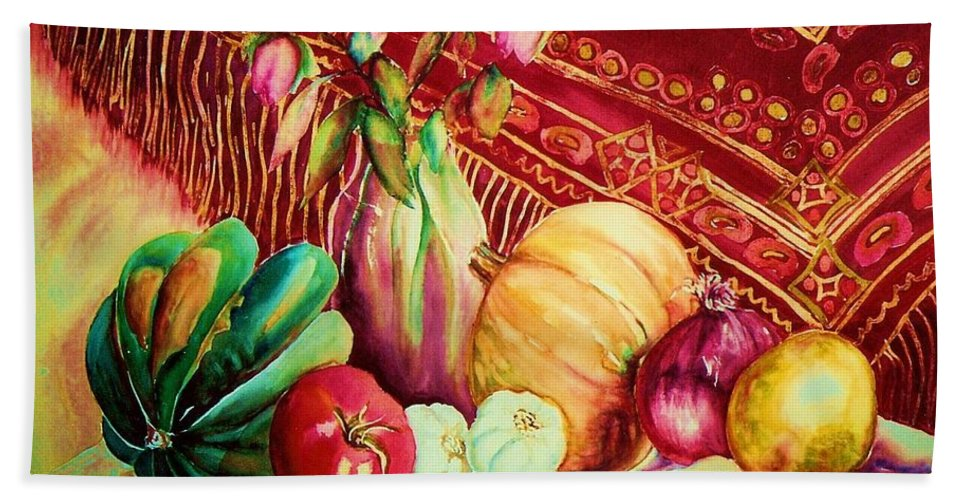 Reds Bath Sheet featuring the painting The Red Shawl by Carole Spandau