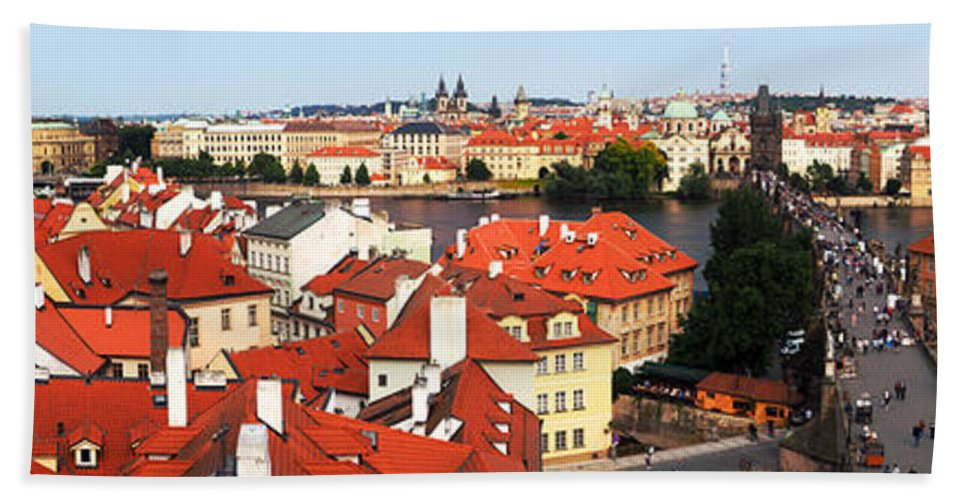 Prague Bath Sheet featuring the photograph The Red Tile Roofs Of Prague by C H Apperson