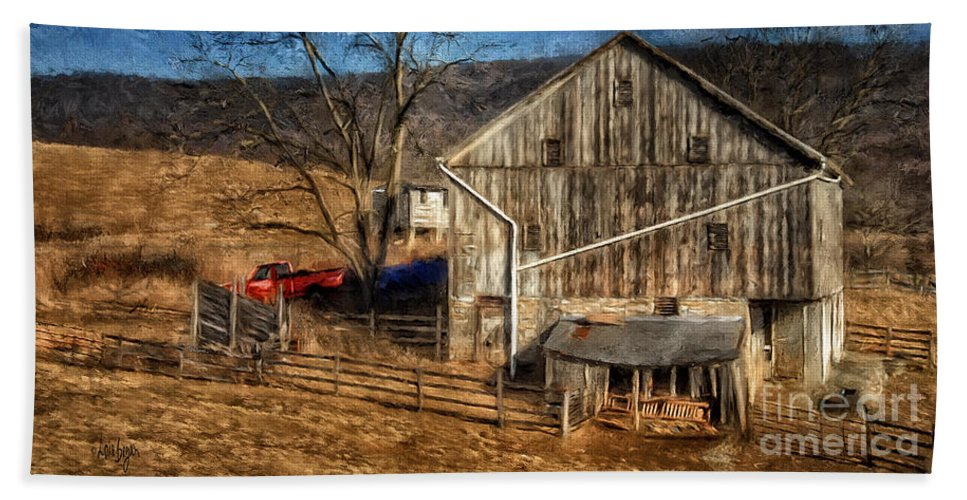 Barn Hand Towel featuring the digital art The Red Truck By The Barn by Lois Bryan