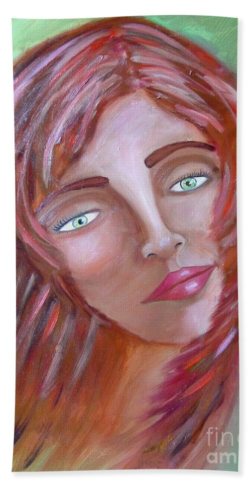 Redheads Bath Sheet featuring the painting The Redhead by Laurie Morgan