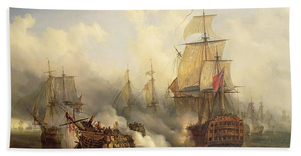 The Bath Towel featuring the painting Unknown Title Sea Battle by Auguste Etienne Francois Mayer