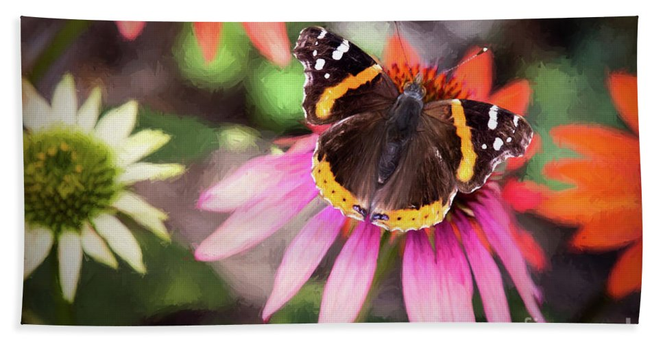 Nature Bath Sheet featuring the photograph The Regal Red Admiral by Sharon McConnell