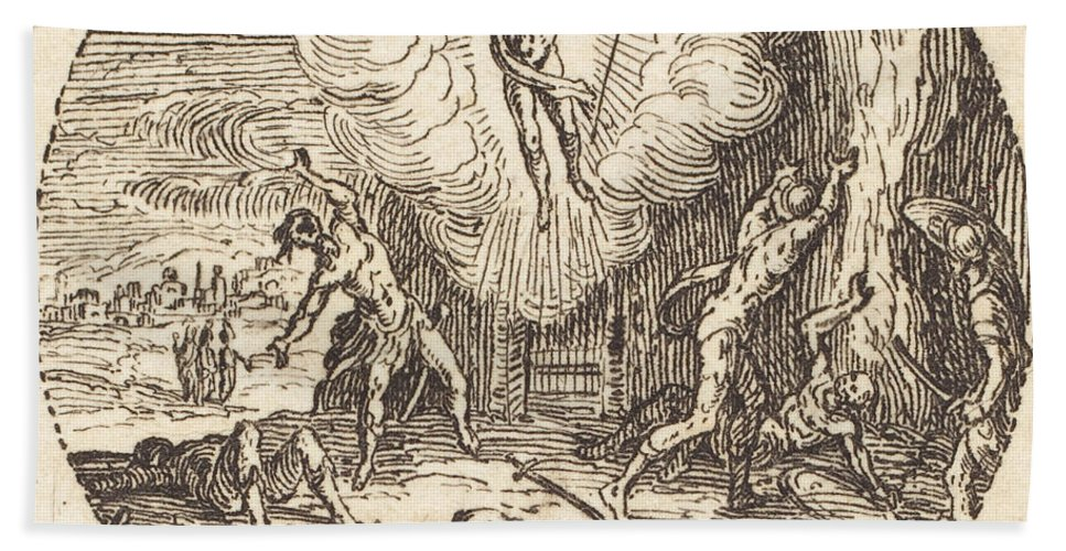 Hand Towel featuring the drawing The Resurrection by Jacques Callot