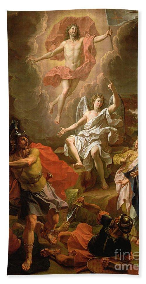 The Resurrection Of Christ Hand Towel featuring the painting The Resurrection Of Christ by Noel Coypel