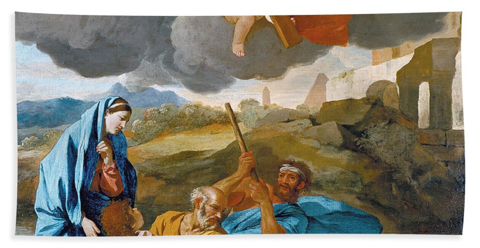 Nicolas Poussin Bath Sheet featuring the painting The Return Of The Holy Family From Egypt by Nicolas Poussin
