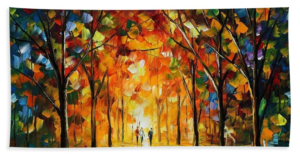 Afremov Bath Sheet featuring the painting The Return Of The Sun by Leonid Afremov