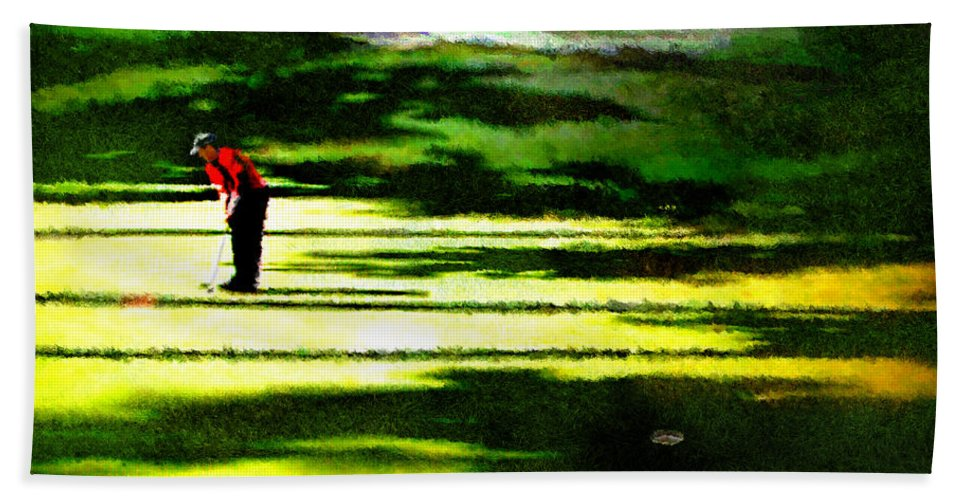 Golf Art Hand Towel featuring the digital art The Return Of The Tiger 05 by Miki De Goodaboom