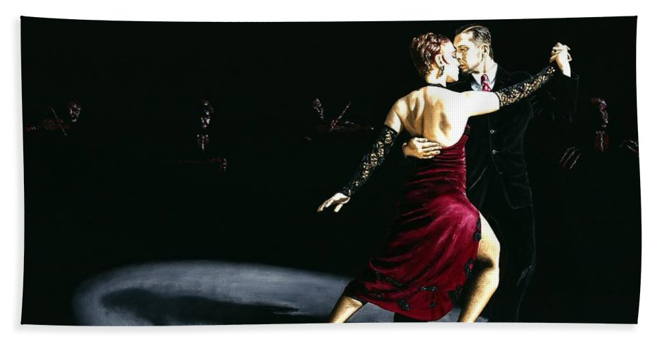 Tango Bath Sheet featuring the painting The Rhythm of Tango by Richard Young