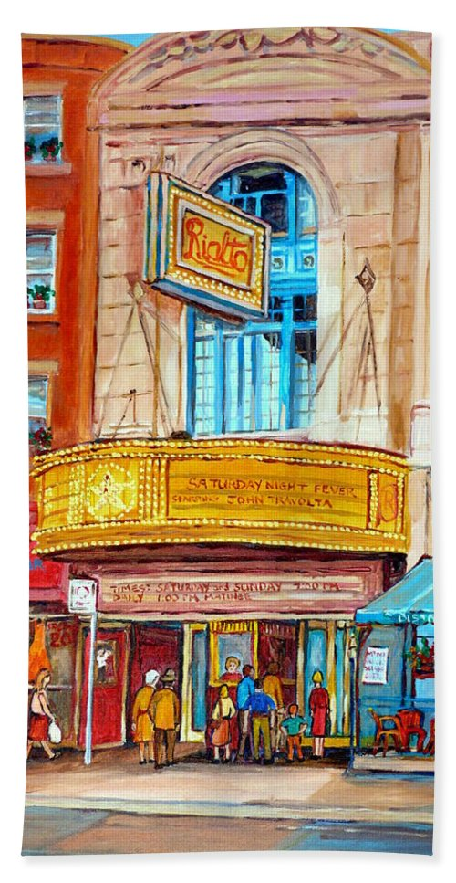 Montreal Hand Towel featuring the painting The Rialto Theatre Montreal by Carole Spandau