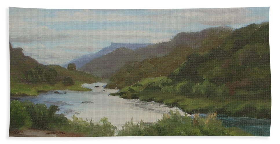 Landscape Bath Towel featuring the painting The Rio Grande Between Taos And Santa Fe by Lea Novak
