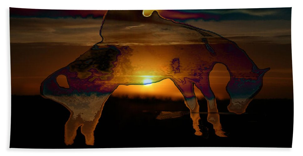 Cowboy Horse Bronc Rider Rodeo Sunrise Skyline Skyscape Sun Clouds Rider Bath Sheet featuring the photograph The Ripple Effect by Andrea Lawrence