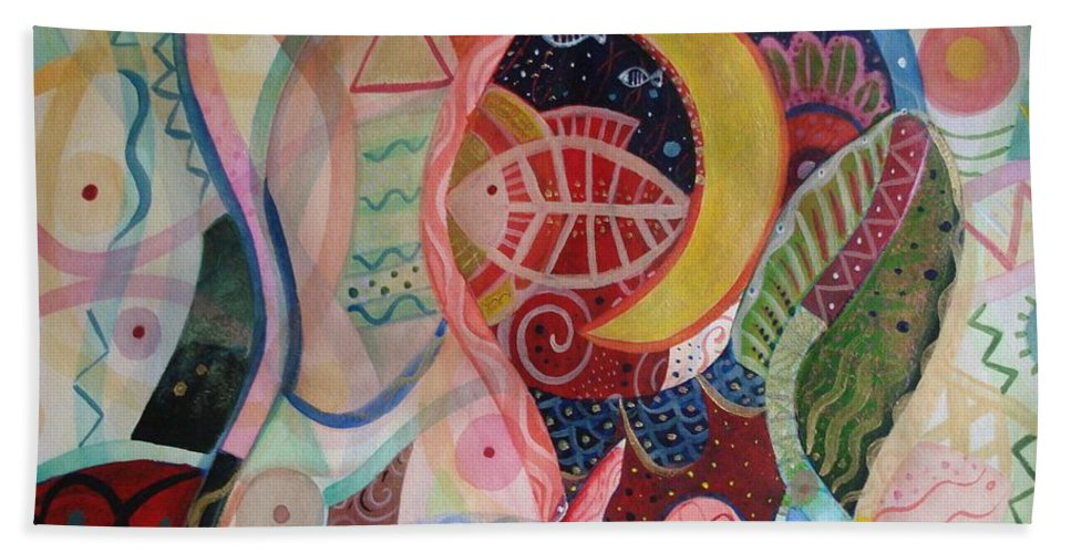 Cycles Hand Towel featuring the painting The Ritual by Helena Tiainen