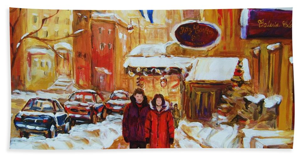 Streetscene Bath Towel featuring the painting The Ritz Carlton by Carole Spandau