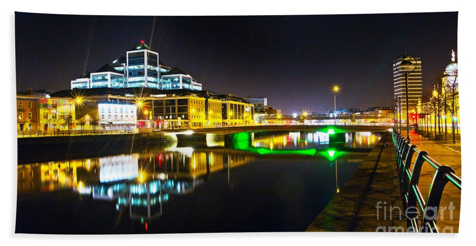 River Liffey Reflections Hand Towel featuring the photograph The River Liffey Reflections 3 by Alex Art and Photo