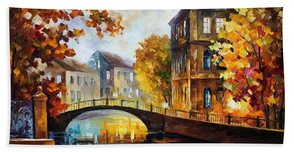 Afremov Bath Sheet featuring the painting The River Of Memories by Leonid Afremov