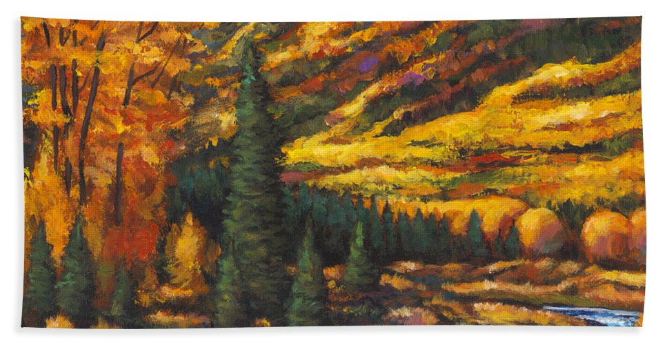 Landscape Bath Towel featuring the painting The River Runs by Johnathan Harris