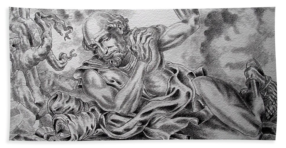 Damascus Bath Sheet featuring the drawing On The Road To Damascus by Gary Renegar