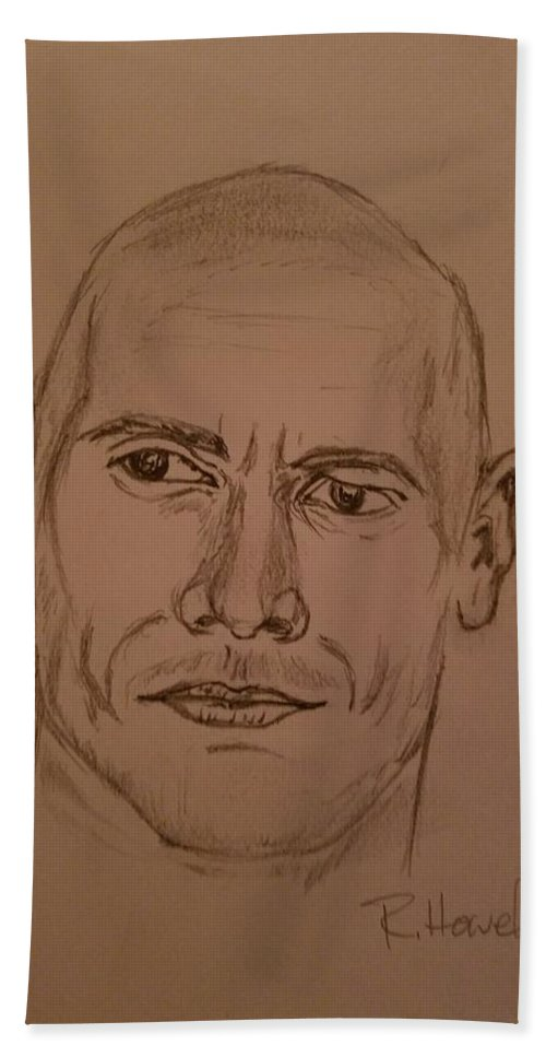 The Rock Hand Towel featuring the drawing The Rock by Richard Howell