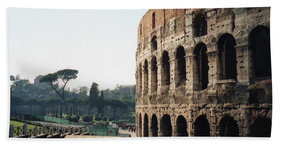 Roman Hand Towel featuring the photograph The Roman Colosseum by Marna Edwards Flavell