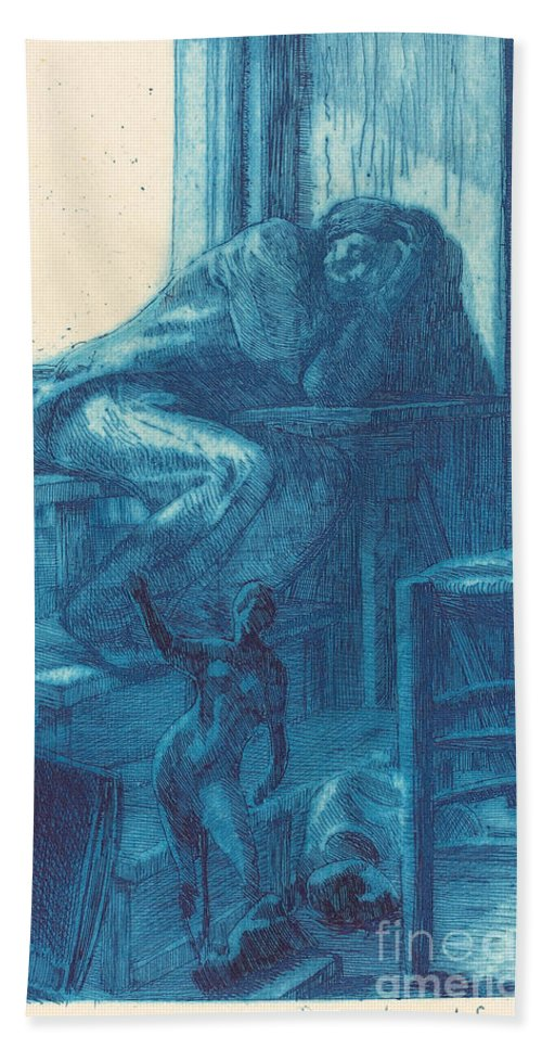 Hand Towel featuring the drawing The Roman Studio (l'atelier De Rome) by Albert Besnard