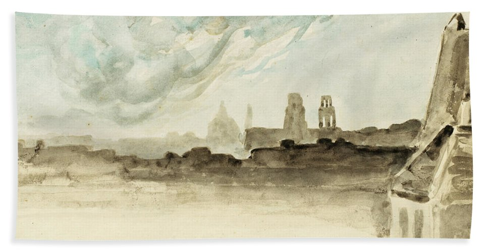 Eugene Delacroix Bath Sheet featuring the drawing The Roofs Of Paris by Eugene Delacroix