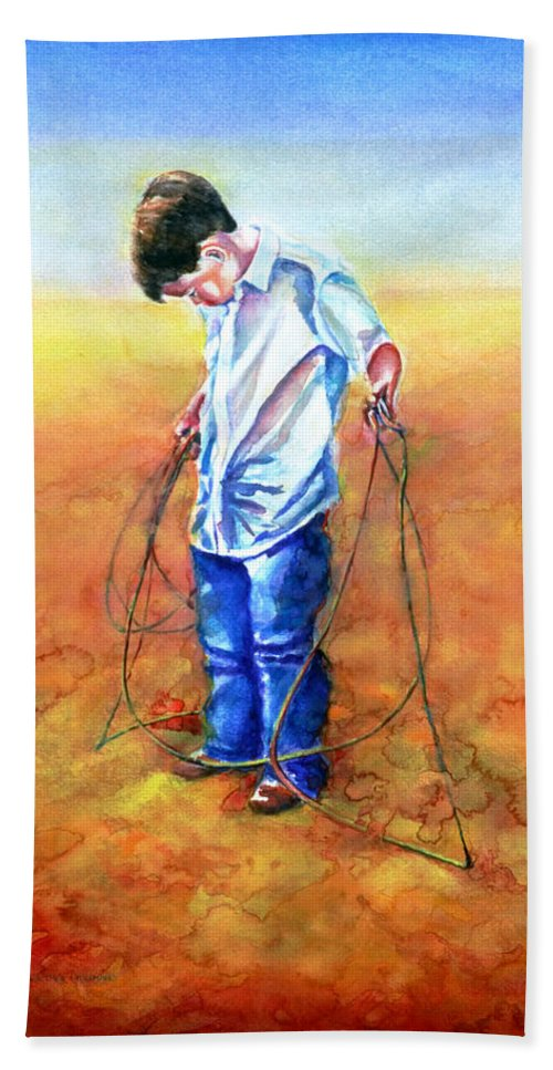 Child Hand Towel featuring the painting The Roping Lesson by Shannon Grissom