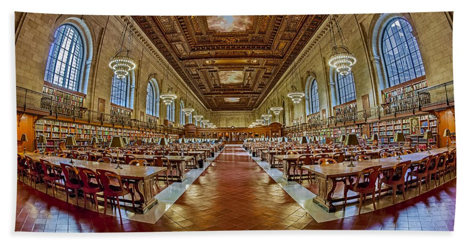 The New York Public Library Bath Sheet featuring the photograph The Rose Main Reading Room Nypl by Susan Candelario