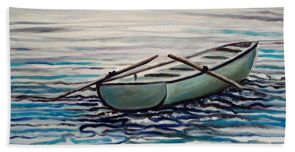 Water Hand Towel featuring the painting The Row Boat by Elizabeth Robinette Tyndall