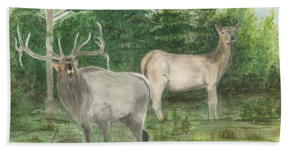 Bull Elk Hand Towel featuring the painting The Rut by Sara Stevenson