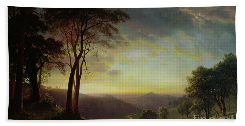 Albert Bath Towel featuring the painting The Sacramento River Valley by Albert Bierstadt