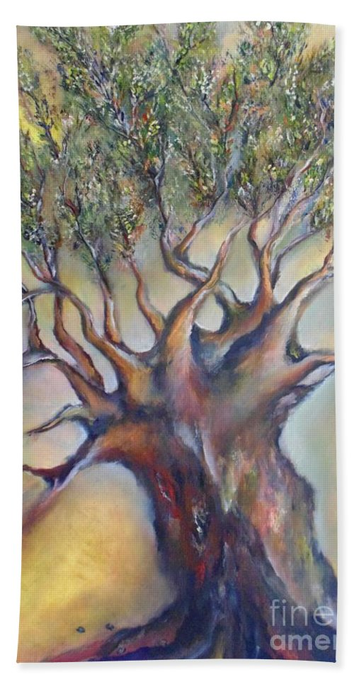 Tree Hand Towel featuring the painting The Sacred Tree by Despoina Ntarda