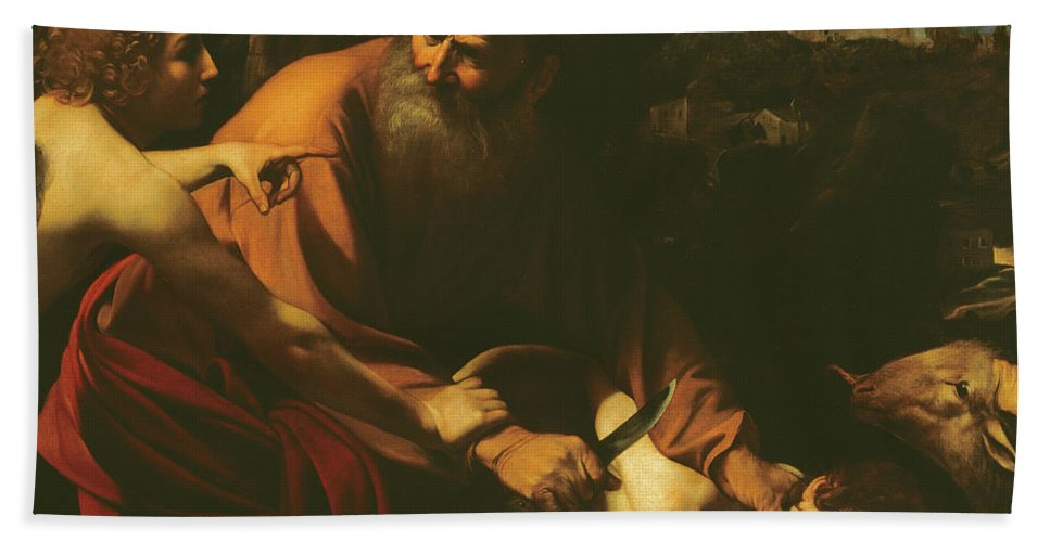 Caravaggio Bath Towel featuring the painting The Sacrifice Of Isaac by Caravaggio