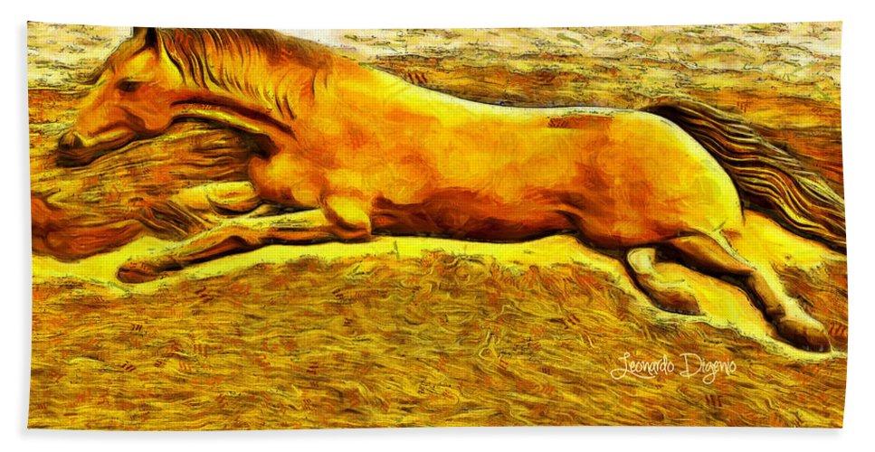 Age Bath Towel featuring the digital art The Sand Horse - Da by Leonardo Digenio