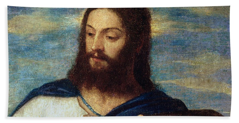 The Hand Towel featuring the painting The Savior by Titian