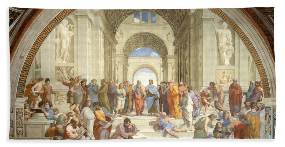 Science Bath Towel featuring the photograph The School Of Athens, Raphael by Science Source