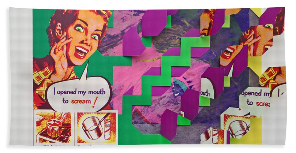 Psycho Hand Towel featuring the mixed media The Scream 3 by Charles Stuart