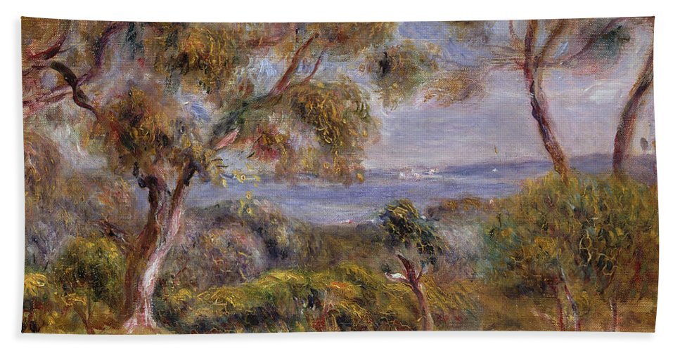 The Sea At Cagnes Bath Sheet featuring the painting The Sea At Cagnes by Pierre Auguste Renoir