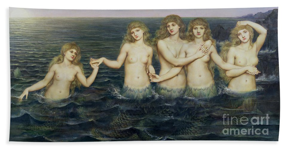 Fairy Tale; Pre-raphaelite; Sisters; Sea; Fish Tails; Breast; Nude; Mermaid; Mermaids; Five; 5 Bath Towel featuring the painting The Sea Maidens by Evelyn De Morgan