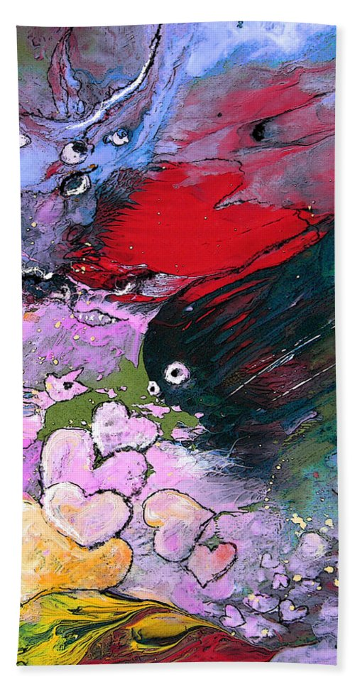 Art Miki Hand Towel featuring the painting The Sea Of Lost Hearts by Miki De Goodaboom