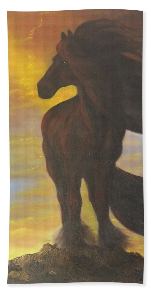 Horse Hand Towel featuring the painting The Searcher by Lou Magoncia