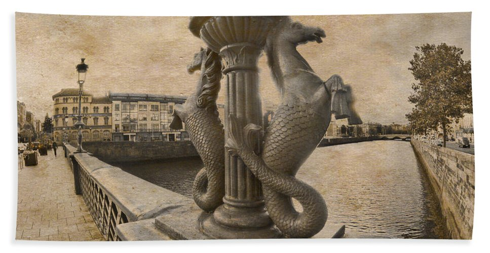 Eahorses Hand Towel featuring the photograph The Seahorses 3 Sepia by Alex Art and Photo