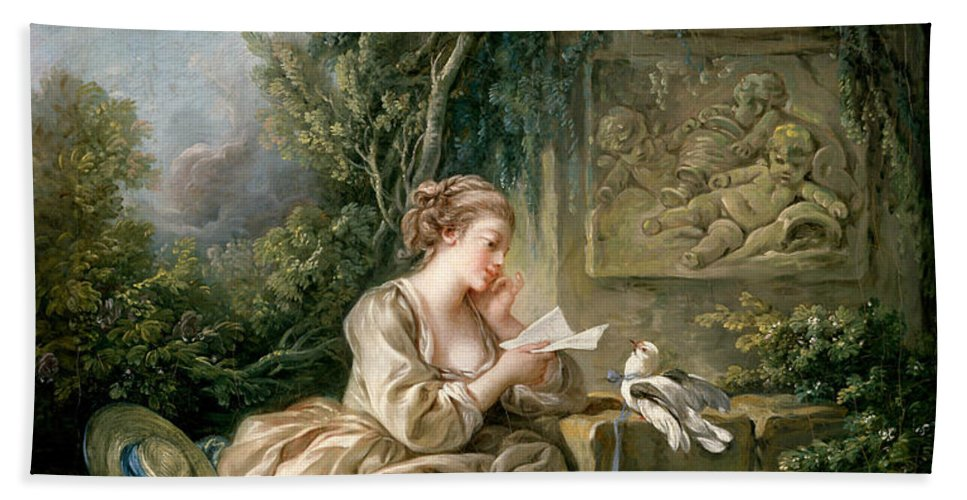 French Artist Hand Towel featuring the painting The Secret Message by Francois Boucher