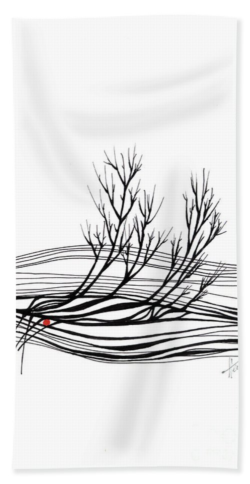 Trees Hand Towel featuring the drawing The seed by Aniko Hencz
