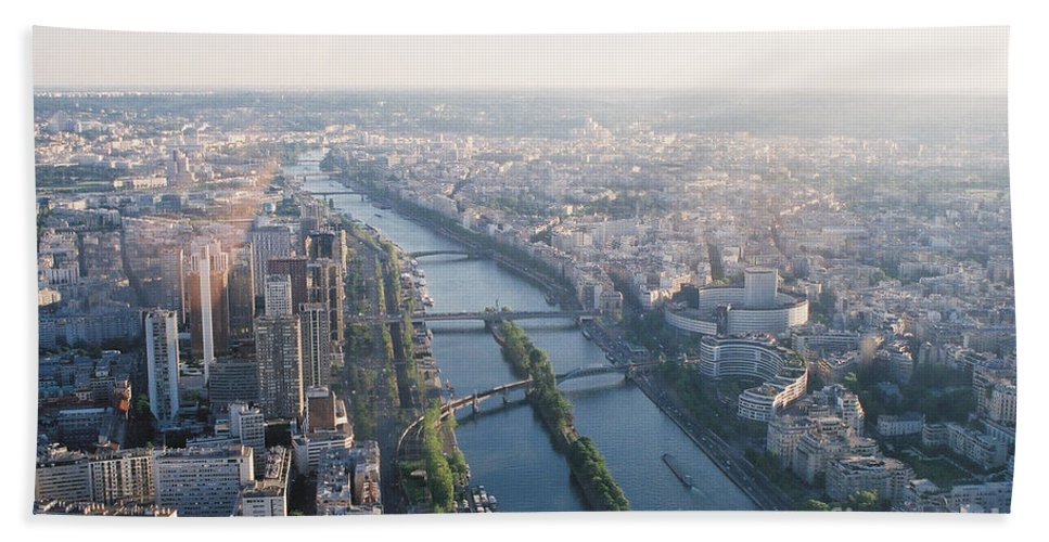 City Bath Towel featuring the photograph The Seine River In Paris by Nadine Rippelmeyer