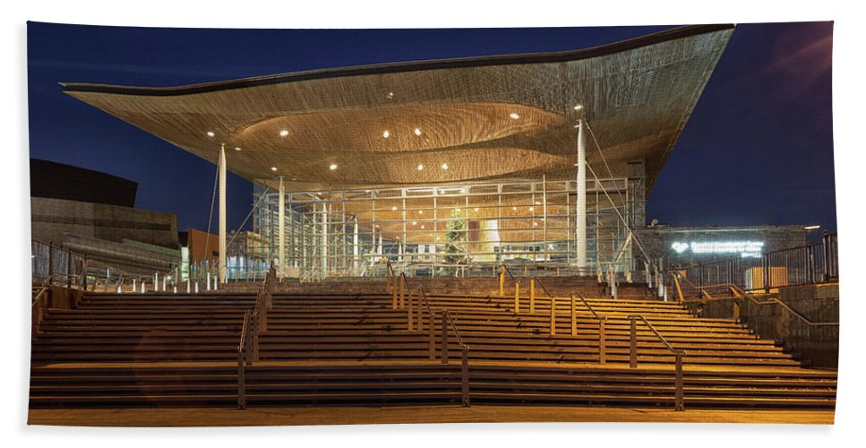 The Senedd Bath Sheet featuring the photograph The Senedd Cardiff by Leighton Collins