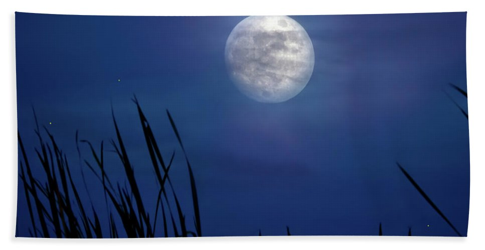 Moon Hand Towel featuring the photograph The Seventh Moon by Mark Andrew Thomas