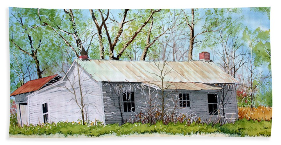 Homesteads Bath Sheet featuring the painting The Shack by Jim Gerkin