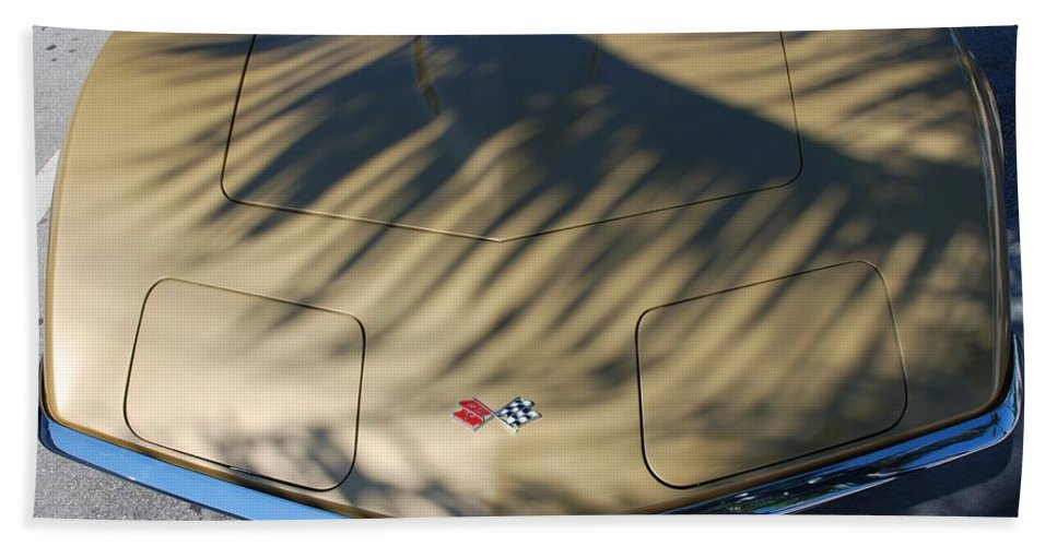Corvette Hand Towel featuring the photograph The Shadow Vette by Rob Hans