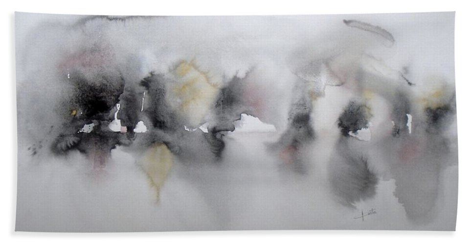 Black And White Hand Towel featuring the painting The Shadows by Vesna Antic