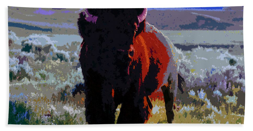 Shaman Bath Sheet featuring the painting The Shamans Buffalo by David Lee Thompson